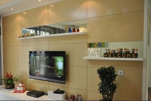 原木材質也是如今十分受歡迎的電視背景墻的材料,這個組合式電視柜圖片