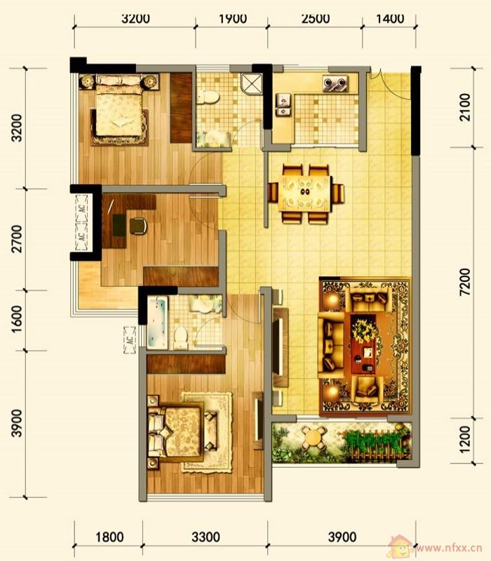 设计图分享 平房三室两厅二卫设计图  康盛花园2楼100平米三室两厅 宽图片